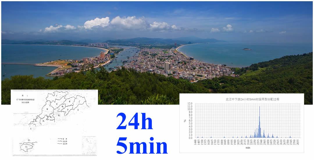 广东省12个暴雨径流分区(含海南岛)24小时5min时段雨型分配过程图