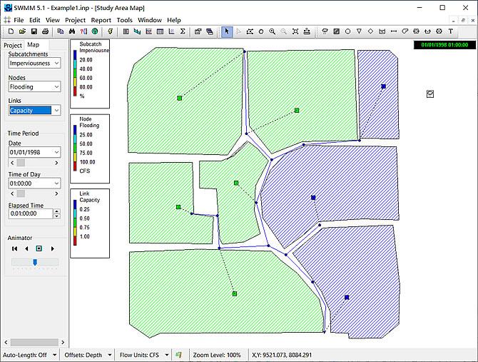 SWMM模拟流域径流水量和水质