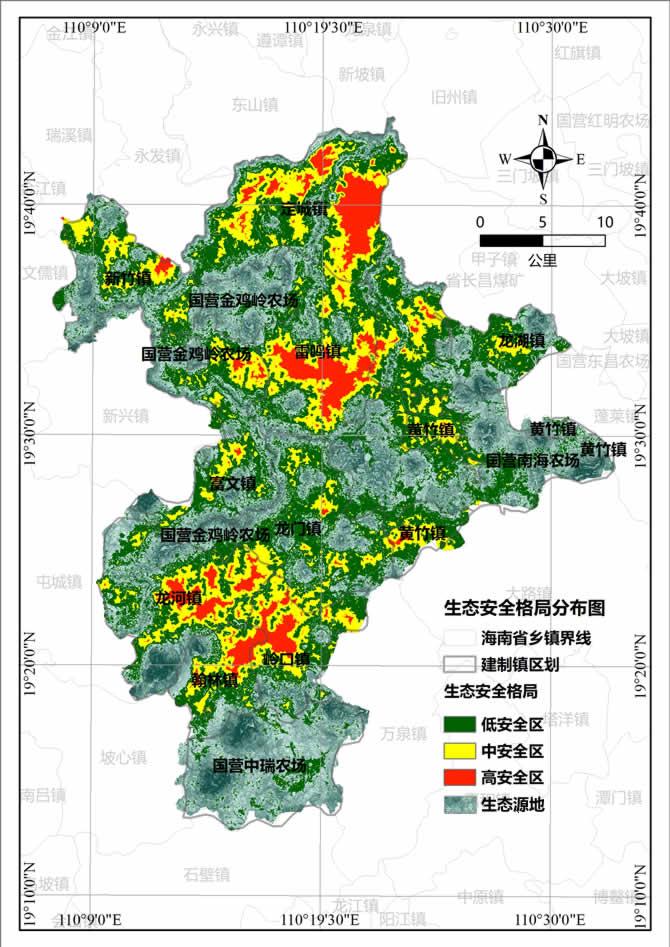 定安县生态安全格局分布图