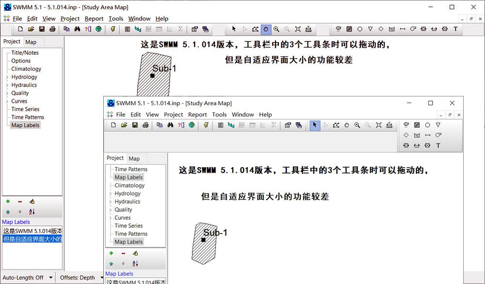 SWMM 5.1.014版本工具条的自动调整方式