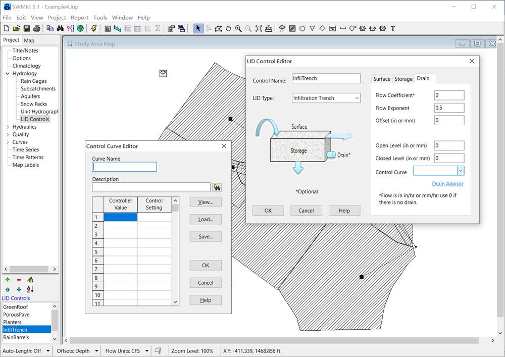 SWMM 5.1.015 中LID 排水层控制曲线设置