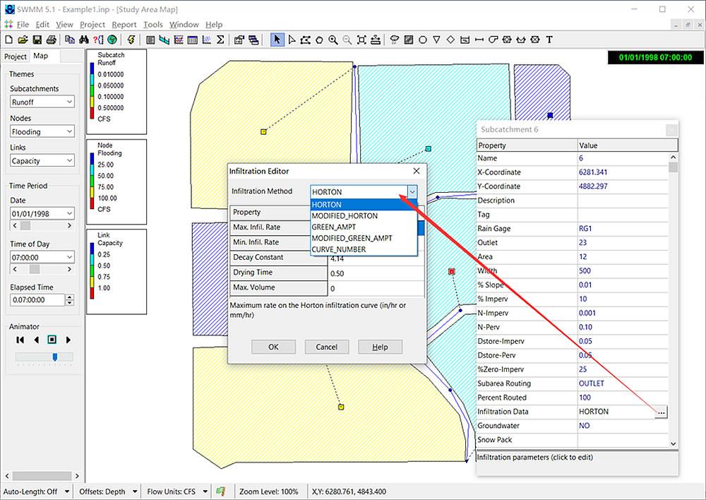 SWMM-5.1.015版本的子集水区渗透模型选项面板