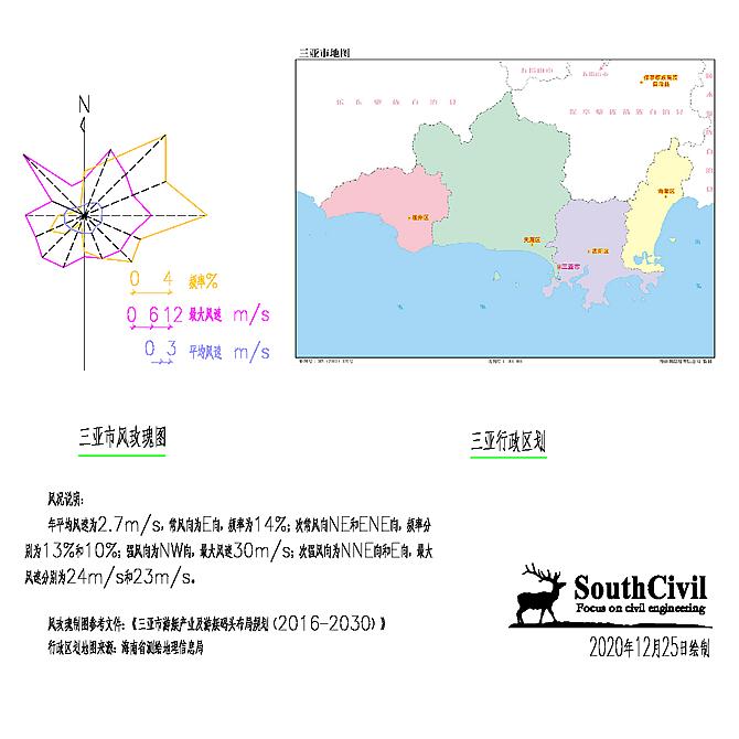 三亚市风玫瑰图与行政区划