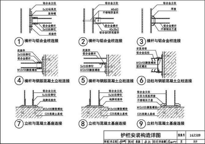 16J509-D19页,护栏安装构造详图